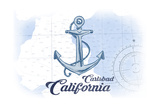 Carlsbad, California - Anchor - Blue - Coastal Icon Prints by  Lantern Press