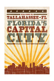 Tallahassee, Florida - Skyline and Sunburst Screenprint Style Posters by  Lantern Press