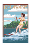 Delaware - Water Skier and Lake Prints by  Lantern Press