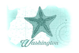 Washington - Starfish - Teal - Coastal Icon Posters by  Lantern Press