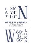 West Palm Beach, Florida - Latitude and Longitude (Blue) Art by  Lantern Press
