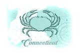 Connecticut - Crab - Teal - Coastal Icon Art by  Lantern Press