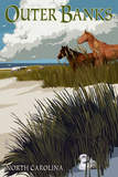 Outer Banks, North Carolina - Horses and Dunes Prints by  Lantern Press