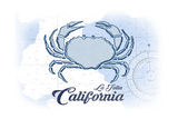 La Jolla, California - Crab - Blue - Coastal Icon Poster by  Lantern Press