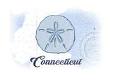 Connecticut - Sand Dollar - Blue - Coastal Icon Art by  Lantern Press