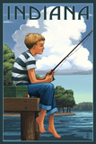 Indiana - Boy Fishing Prints by  Lantern Press