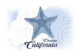 Cambria, California - Starfish - Blue - Coastal Icon Art by  Lantern Press