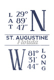 St. Augustine, Florida - Latitude and Longitude (Blue) Posters by  Lantern Press