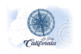 La Jolla, California - Compass - Blue - Coastal Icon Prints by  Lantern Press