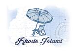 Rhode Island - Beach Chair and Umbrella - Blue - Coastal Icon Prints by  Lantern Press
