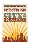 St. Louis, Missouri - Skyline and Sunburst Screenprint Style Print by  Lantern Press
