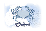 Depoe Bay, Oregon - Crab - Blue - Coastal Icon Prints by  Lantern Press