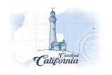Carlsbad, California - Lighthouse - Blue - Coastal Icon Prints by  Lantern Press