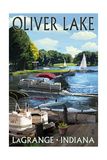 LaGrange, Indiana - Oliver Lake - Pontoon Boats Prints by  Lantern Press