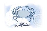 Maine - Crab - Blue - Coastal Icon Prints by  Lantern Press