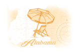 Alabama - Beach Chair and Umbrella - Yellow - Coastal Icon Prints by  Lantern Press