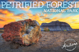 Petrified Forest National Park, Arizona - Yellow and Blue Sunset Posters by  Lantern Press