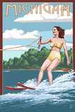 Michigan - Water Skier and Lake Prints by  Lantern Press