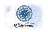 Monterey, California - Compass - Blue - Coastal Icon Prints by  Lantern Press