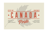 Quebec, Canada Pride - Gray Maple Leaf Typography Poster by  Lantern Press