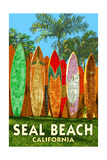 Seal Beach, California - Surfboard Fence Prints by  Lantern Press