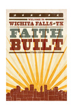 Wichita Falls, Texas - Skyline and Sunburst Screenprint Style Posters by  Lantern Press