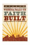 Wichita Falls, Texas - Skyline and Sunburst Screenprint Style Posters by  Lantern Press