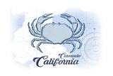 Coronado, California - Crab - Blue - Coastal Icon Posters by  Lantern Press