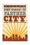 Fort Worth, Texas - Skyline and Sunburst Screenprint Style Prints by  Lantern Press