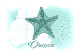 Oregon - Starfish - Teal - Coastal Icon Prints by  Lantern Press