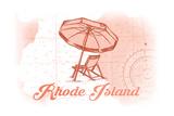 Rhode Island - Beach Chair and Umbrella - Coral - Coastal Icon Posters by  Lantern Press