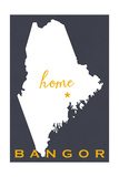 Bangor, Maine - Home State - White on Gray Posters by  Lantern Press
