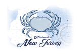 Wildwood, New Jersey - Crab - Blue - Coastal Icon Prints by  Lantern Press
