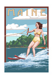 Maine - Water Skier and Lake Prints by  Lantern Press