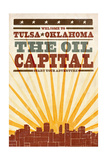 Tulsa, Oklahoma - Skyline and Sunburst Screenprint Style Poster by  Lantern Press