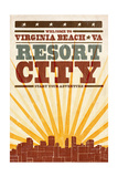 Virginia Beach, Virginia - Skyline and Sunburst Screenprint Style Prints by  Lantern Press