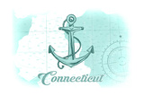 Connecticut - Anchor - Teal - Coastal Icon Posters by  Lantern Press