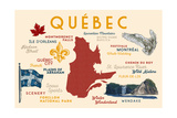 Quebec, Canada - Typography and Icons Prints by  Lantern Press