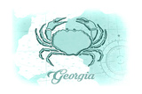 Georgia - Crab - Teal - Coastal Icon Posters by  Lantern Press