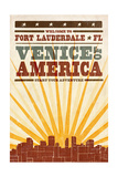 Fort Lauderdale, Florida - Skyline and Sunburst Screenprint Style Posters by  Lantern Press
