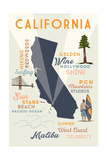 Malibu, California - Typography and Icons Prints by  Lantern Press