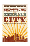 Seattle, Washington - Skyline and Sunburst Screenprint Style Posters by  Lantern Press