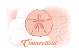 Connecticut - Sand Dollar - Coral - Coastal Icon Posters by  Lantern Press