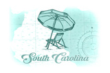 South Carolina - Beach Chair and Umbrella - Teal - Coastal Icon Posters by  Lantern Press