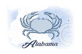 Alabama - Crab - Blue - Coastal Icon Poster by  Lantern Press