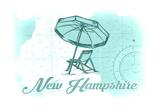New Hampshire - Beach Chair and Umbrella - Teal - Coastal Icon Prints by  Lantern Press