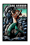 Oak Harbor, Washington - Mermaid - Scratchboard Prints by  Lantern Press