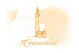 Connecticut - Lighthouse - Yellow - Coastal Icon Print by  Lantern Press
