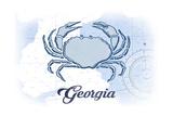 Georgia - Crab - Blue - Coastal Icon Print by  Lantern Press