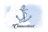 Connecticut - Anchor - Blue - Coastal Icon Posters by  Lantern Press